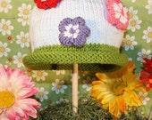 Garden Party Knit Baby Cap Pattern PDF