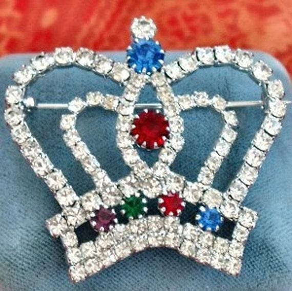 Crown Brooch Vintage Rhinestones