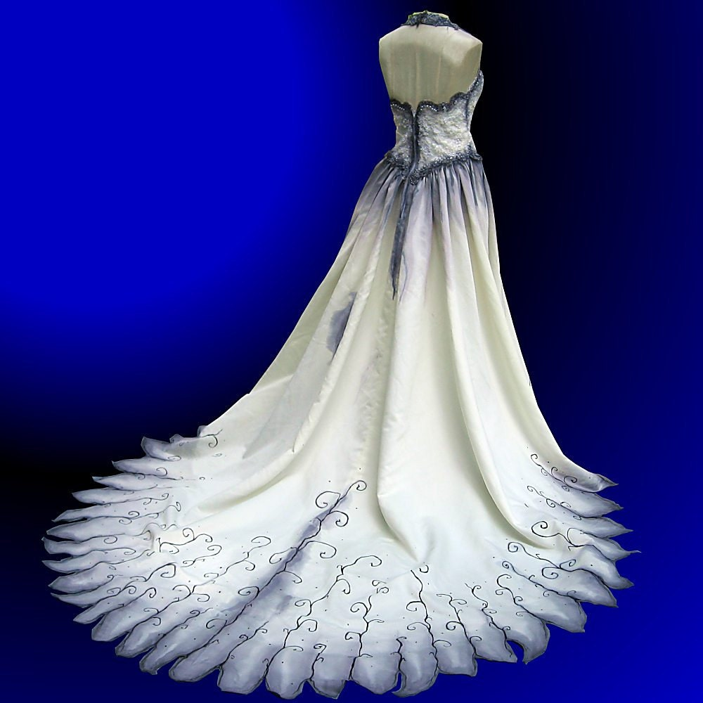Gothic Wedding Gown Hand Painted