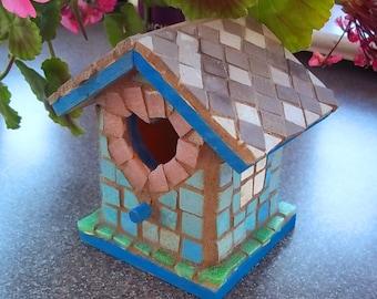 Mosaic Birdhouse Decorative Shelf Sitter