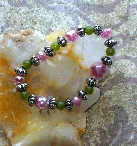 Pink and Green Beaded Stretch Bracelet