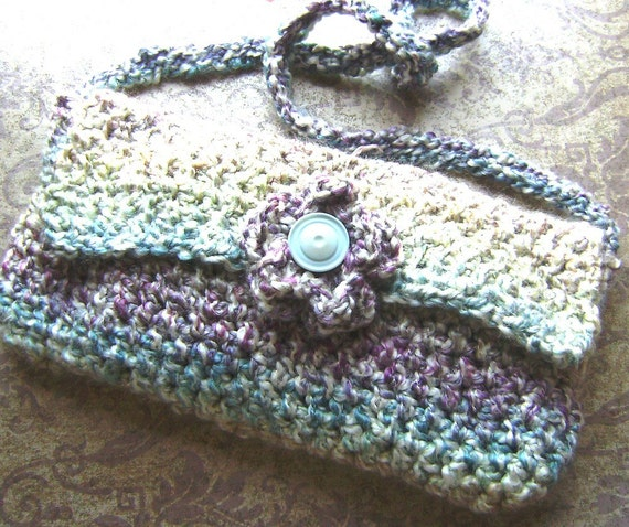 Crochet Hippie Bag : Crochet Hippie Bag w/Shoulder Strap and Button Flower made from ...