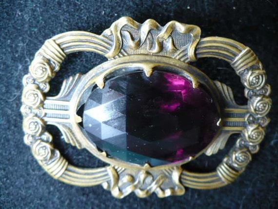 Sale - Victorian Purple Glass Brooch Stamped Brass Pin