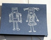 Robot couple - navy hand printed card (set of 4)