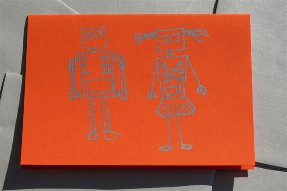 Robot couple - orange printed card (set of 4)