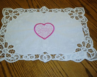 Battenburg Lace Placemats with Embroidered Pink Heart