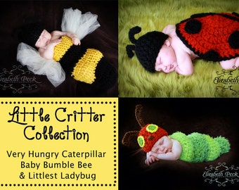 Little Critter Bug Collection Baby Photoprop Patterns -- 3 Crochet Patterns INSTANT DOWNLOAD