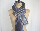 SALE ocean blue silk and silver metallic organza wrap