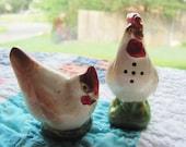 Adorable Vintage Chicken and Rooster Salt and Pepper Shaker Japan