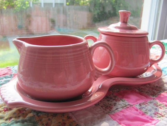 Vintage Rose Fiestaware Creamer And Sugar With Figure Eight