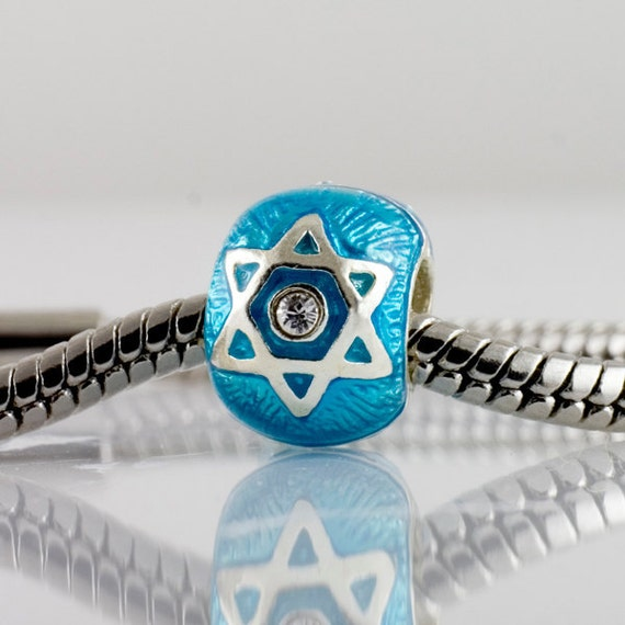 Star of David & Chai Sterling Silver Judaica Bead in Turquoise for European Style Bracelet