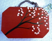 Charming Orange Lacquer Hand painted Wooded Box Purse DOGWOOD