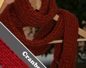 FREE SHIPPING - Knit Skinny Scarf - Cranberry
