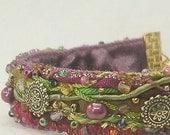 ON SALE Handmade Fiber Art Bracelet--Gypsy--5/8 width