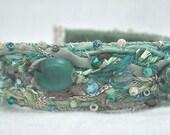 Fiber Beaded  Bracelet--Seafoam