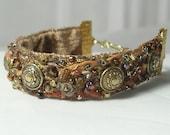 Handstitched Fiber Beaded Bracelet--Brown Sugar