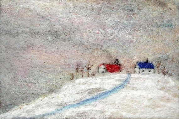 Hand Needle Felted Landscape--Snowed In