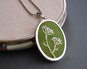 RESERVED Embroidered Pendant Necklace Queen Anne's Lace on Moss Green Linen