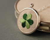 Embroidered Pendant Necklace Two Toned Green Shamrock on Linen perfect for St. Patrick's Day