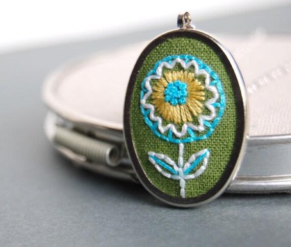 Embroidered Pendant Necklace Aqua Lemon Blossom on Green Linen