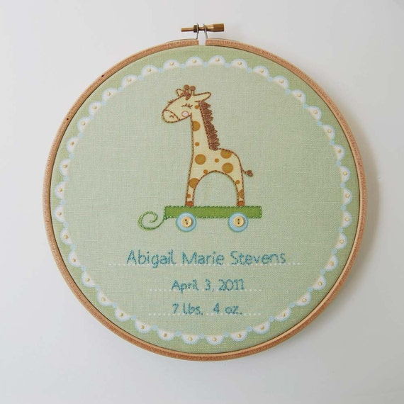 DIY Birth Record, Hand Embroidery Fabric Panel for DIY baby gifts, Giraffe Design Needle Craft Project for Nursery Decor