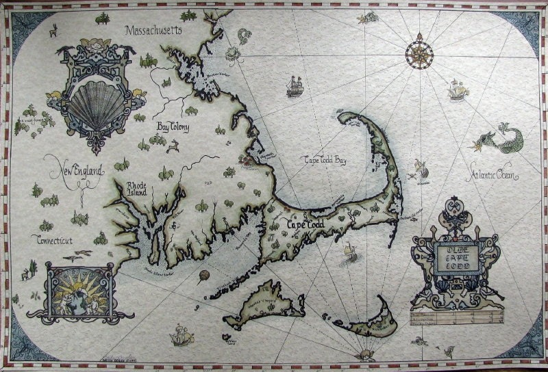 Personalized Gift Faux Antique Map Of Cape Cod Boston By