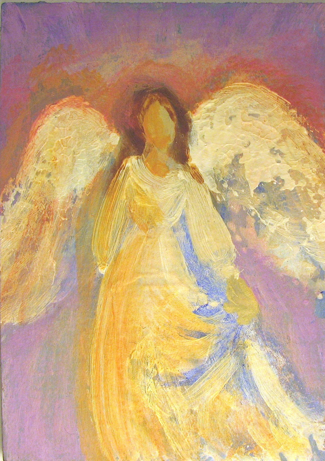 Healing angel painting original aceo miniature acrylic for Angel paintings for sale