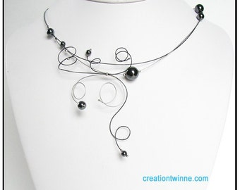 black gray necklace,women  gift, contemporary jewelry,illusion necklace, bridesmaids gift,delicate jewelry,wedding jewelry,modern jewelry