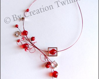 red glass beads necklace, metal squares, swirls, bridesmaids necklace, delicate necklace, nature jewelry