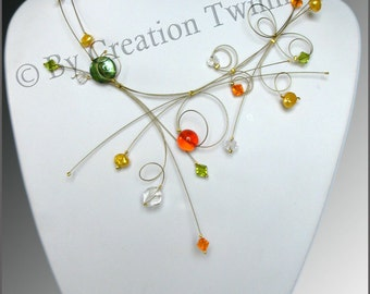 mother gift,wedding necklace, orange necklace, yellow necklace ,bridesmaids gift, evening necklace, party jewelry, bridal necklace