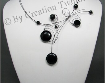 black handmade necklace, christmas gift idea, bridesmaids necklace, mother gift,delicate evening necklace ,funky necklace,wedding necklace