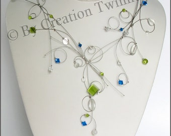 royal blue, lime green beads necklace, bridesmaids necklace,  swirls, delicate necklace,bridesmaids gifts, swarovski crystal, glass, wedding