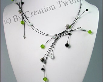 lime green, black  necklace, , bridesmaids necklace, delicate necklace, bridesmaids gifts, modern jewelry, white, asymmetrical jewelry