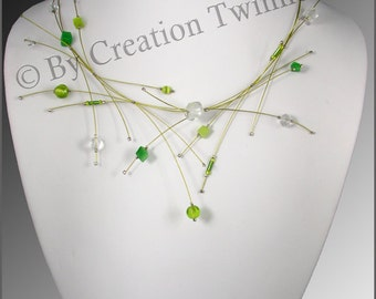 lime green and clear beads necklace,glass, bridesmaids necklace, delicate necklace, bridesmaids gifts, wedding necklace