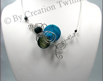 blue and black necklace, funky,necklace, wire work twisted, swirls,  bridesmaids necklace, delicate necklace, bridesmaids gifts
