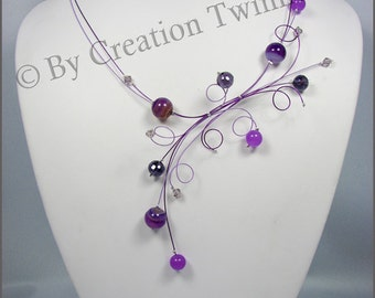 purple necklace,glass, agate,  swirls, bridesmaids necklace, delicate necklace, nature jewelry,bridesmaids gift. wedding necklace