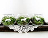 Cottage Chic Terrarium Set: Three Little Lambs
