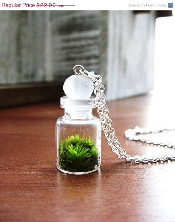 25% off SALE Sterling Silver Terrarium Necklace Vial