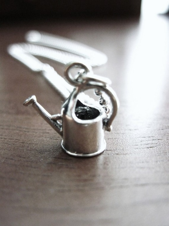 Sterling Silver Garden Necklace: Tiny Watering Can
