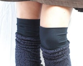 Sale 25% off Navy bamboo knit  leg warmers