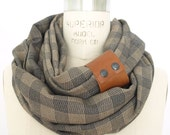 Camel and navy plaid circular infinity scarf