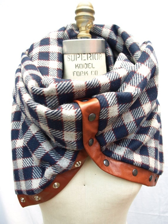 Chunky wool navy plaid circular infinity scarf