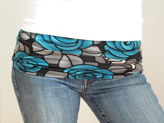 Belly band - maternity fashion accessory-HARAMAKI- black and blue rose