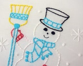 snow winter snowflake and snowman embroidery pattern packet