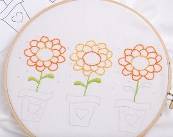 Zinnia Embroidery Pattern Flower Embroidery Design Summer Flower Embroidery Zinnia Hand Embroidery Design