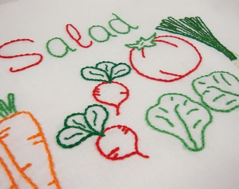 Salad Embroidery Design Tomato Design Vegetable Art