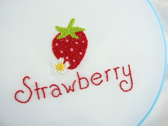 Strawberries Embroidery Pattern Packet Strawberry Embroidery Design