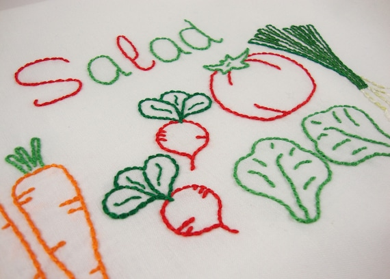 Salad embroidery pattern green salad tomato lettuce