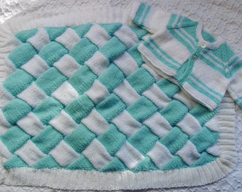 Handmade Baby Blanket and  Sweater  BLUE and White   great Baby  SHOWER GIFT