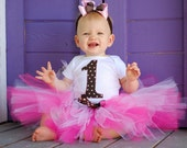 Tutie Cutie - Number or Initial - Brown and Pink Polka Dot First Birthday set